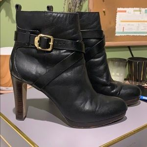 Black leather Louise et Cie booties.